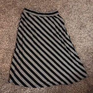 Roz & Ali Grey and Black Striped Maxi Skirt 2X